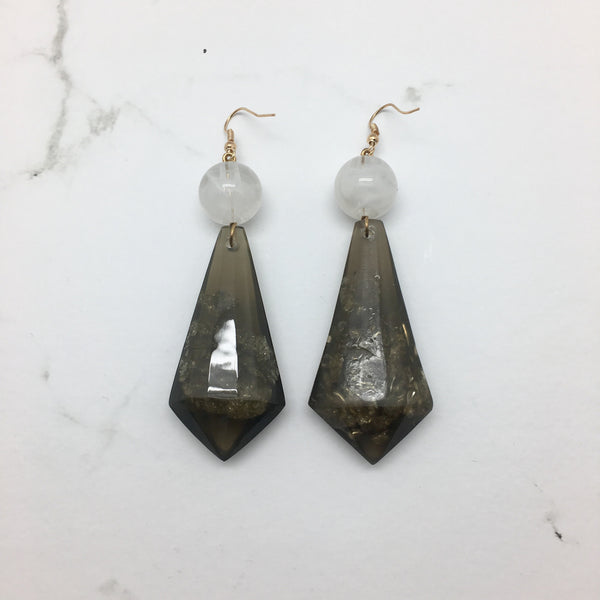 Venice Black Marble Earrings