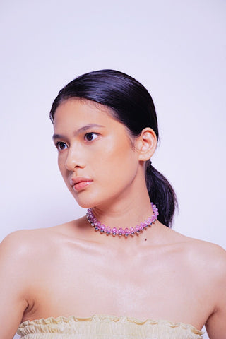 Louisa Pink Silver Choker - House of Jealouxy