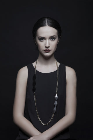 Pompeii Black Dark Grey Necklace - House of Jealouxy