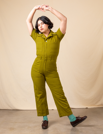 Short Sleeve Jumpsuit - Olive Green