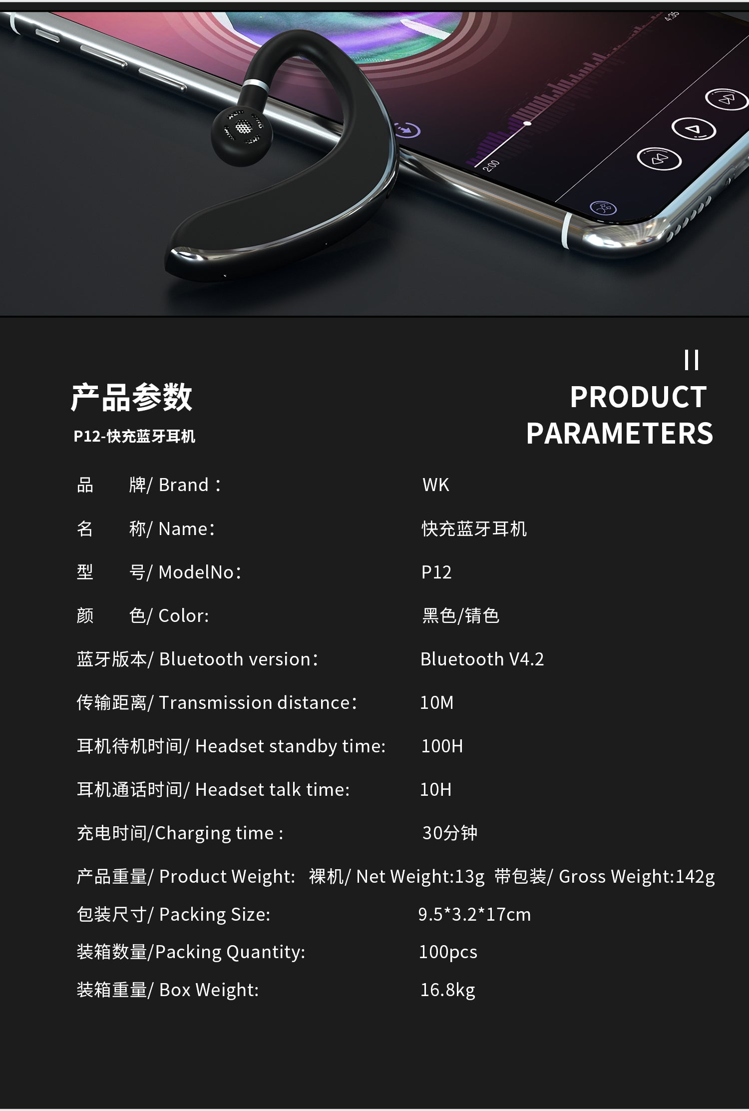 P12 Super Fast Charging Wireless Headet