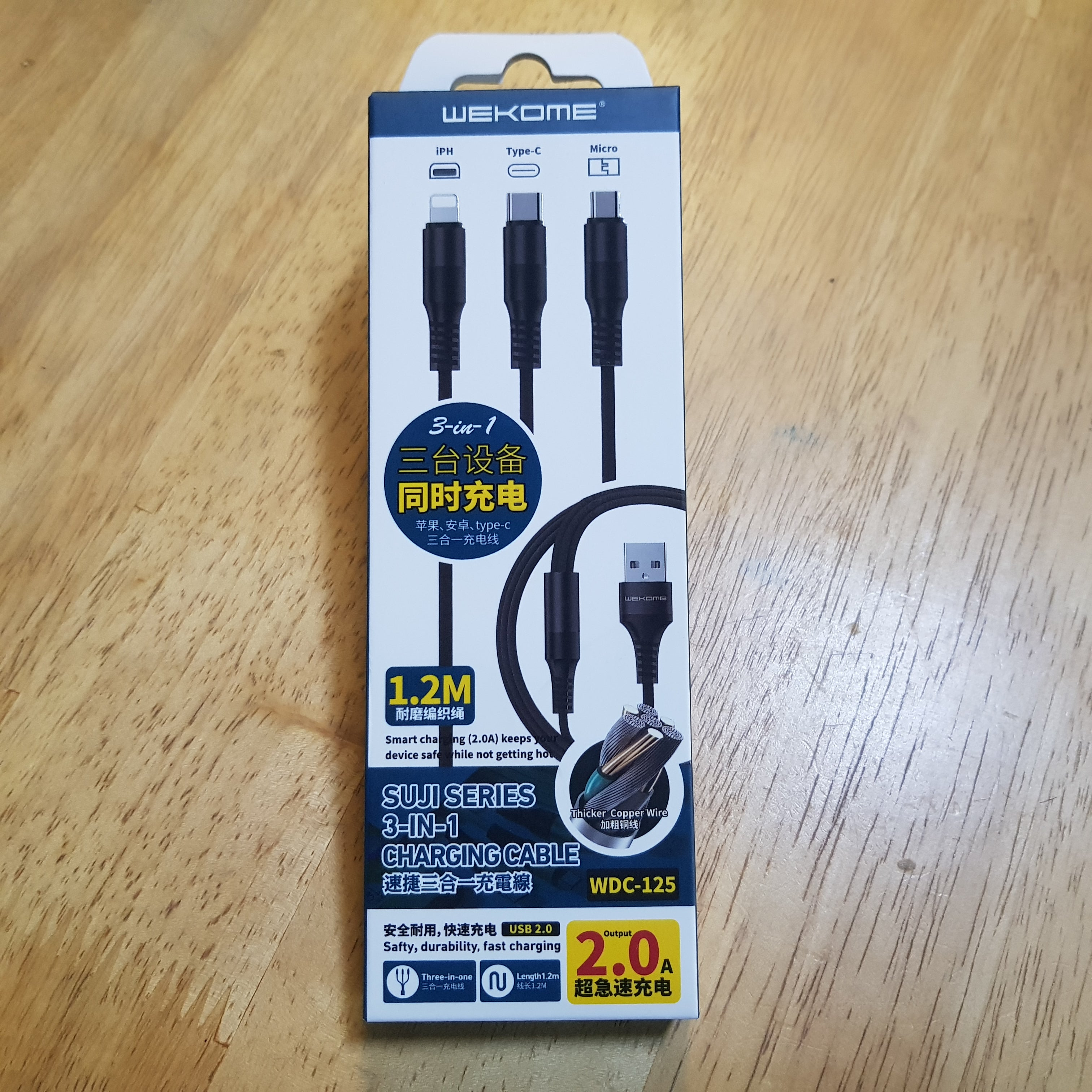 WDC-125 Suji Series 3-in-1 Charging Cable WK Design