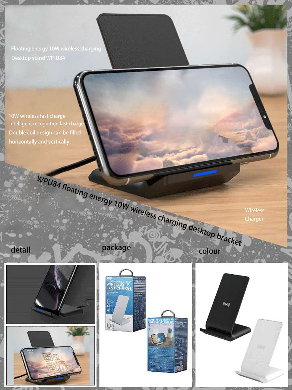 WP-U84 Double Coil Vertical Wireless Fast Charger - i-s-mart.com | No.1 Branded Online Shop in Cambodia