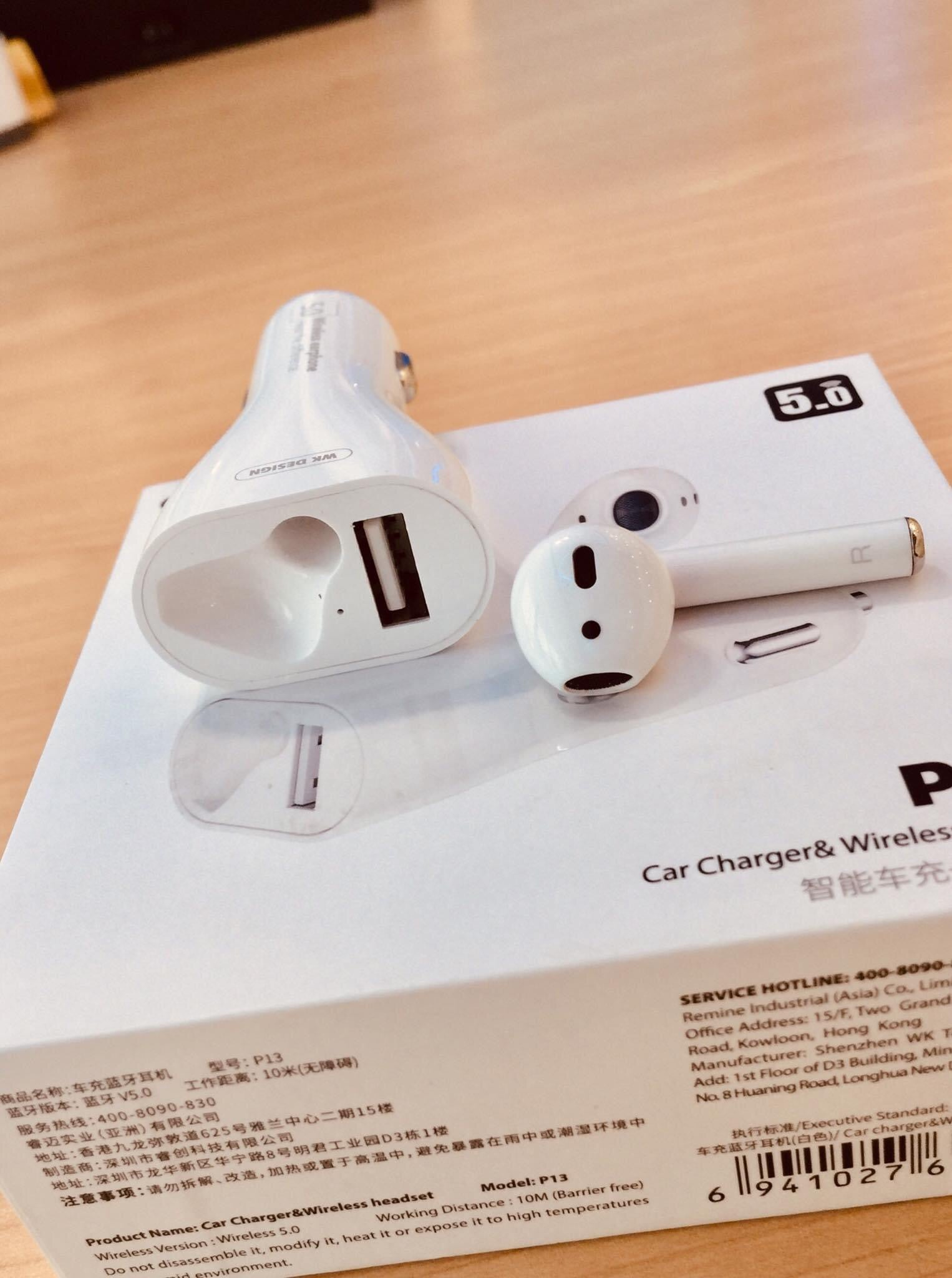 P13 Car Charger + Wireless Headset