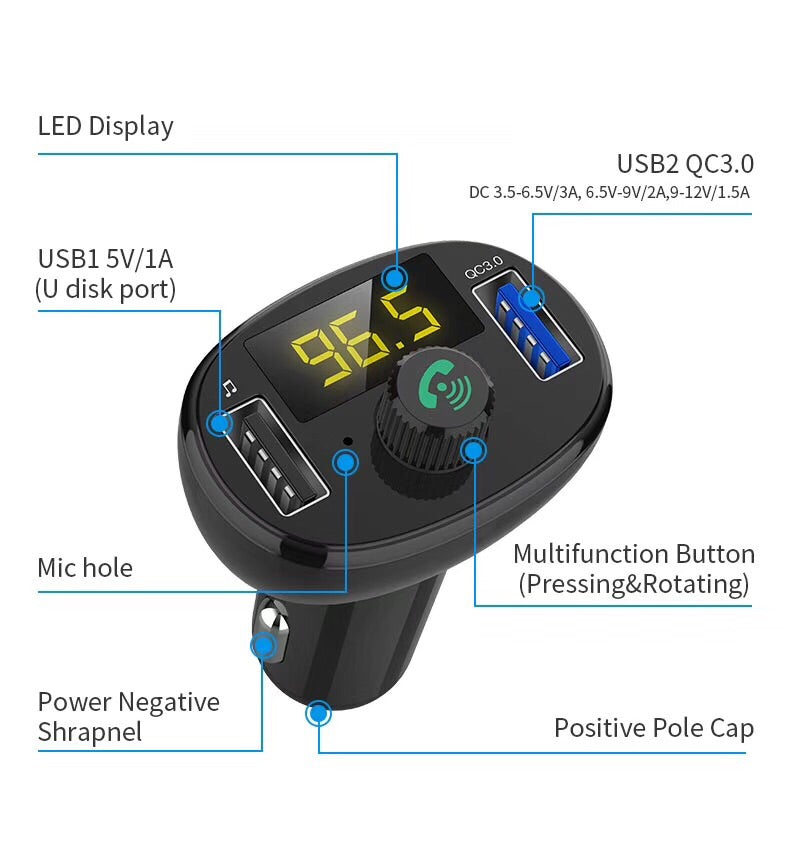 i1021 Wireless Car FM Transmitter QC3.0 Quick Charge - i-s-mart.com | No.1 Branded Online Shop in Cambodia