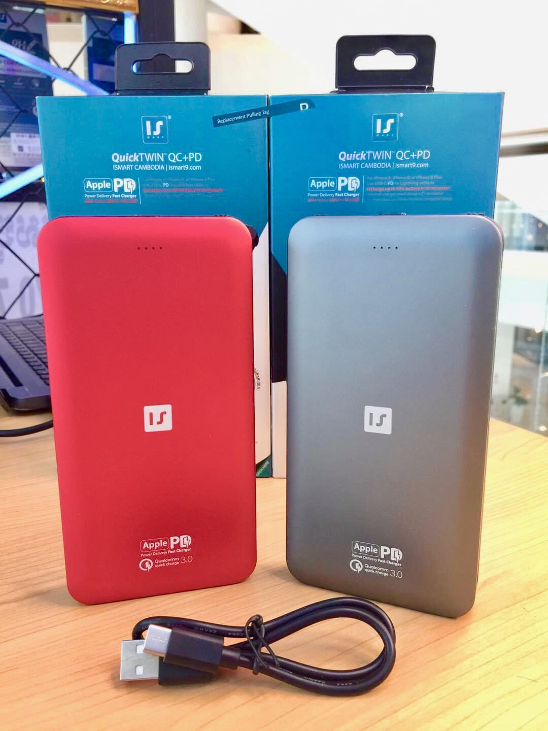 ISmart QuickTWIN QC+PD Fast charge Power bank x2 Build-in Cable