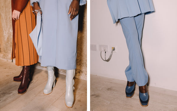 Women's Chunky Boots Backstage at the Richard Malone x Malone Souliers Show LFW