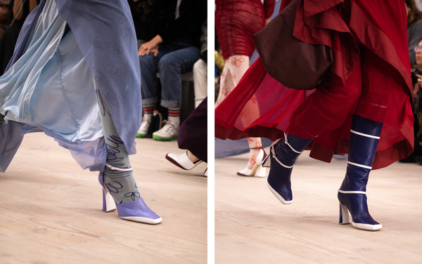 Women's Chunky Heels in Lilac and Cobalt Blue Knee-High Boots Richard Malone Malone Souliers