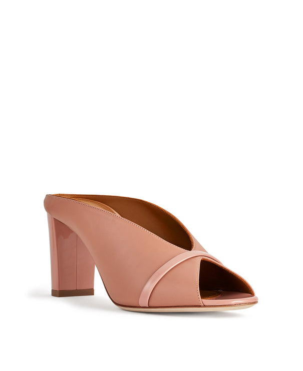 Women's Nude Leather Mules With Chunky Heel Malone Souliers