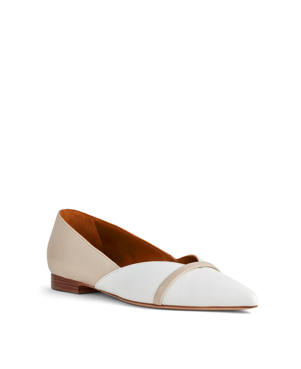 Women's Flat Shoes In White Leather With Pointed Toe Malone Souliers