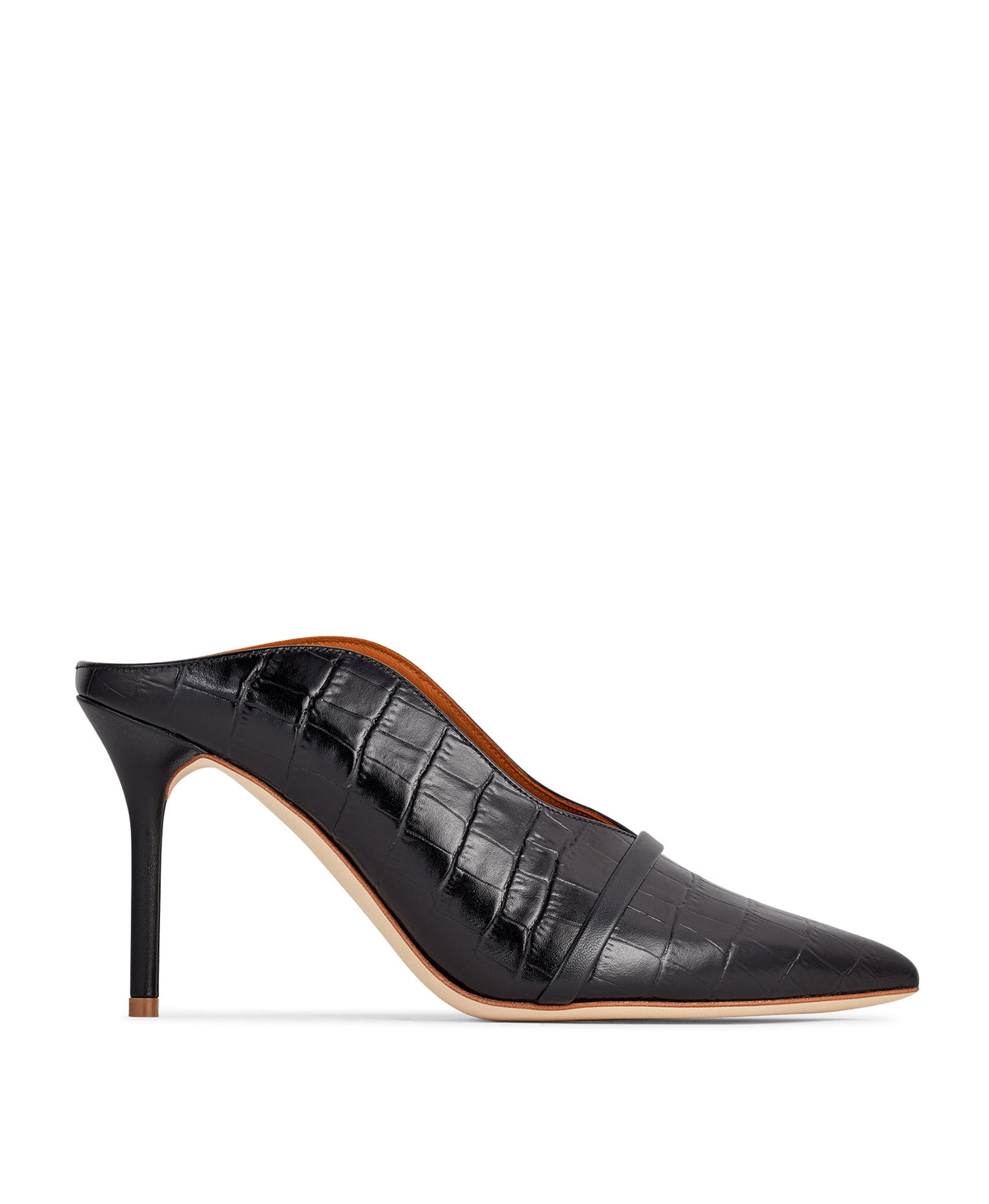 Constance 85mm - Black Croc Printed Leather