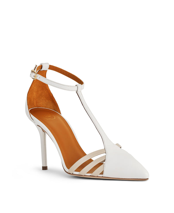 Women's White Leather T-Bar Stiletto Heeled Pumps Malone Souliers
