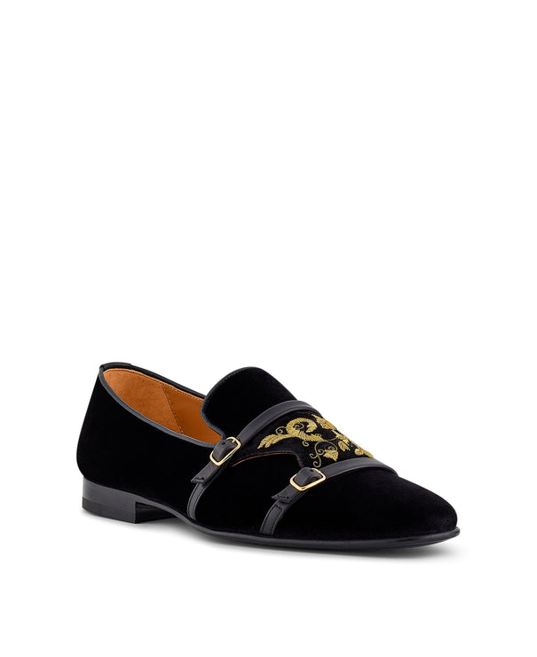 Men's Black Monk-Strap Loafers With Gold Embroidery Malone Souliers