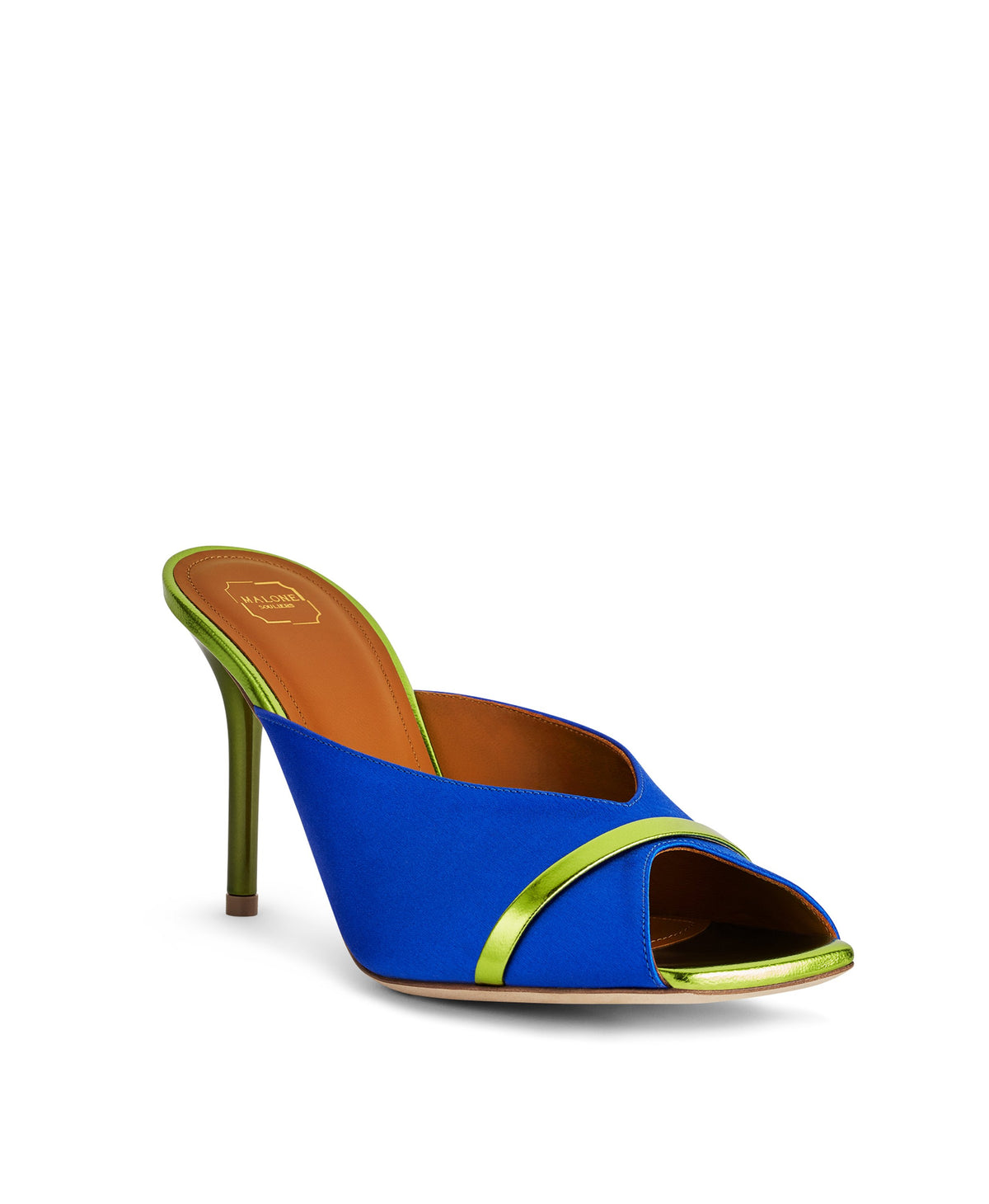 Women's Electric Blue Satin Designer Mules With Stiletto Heel Malone Souliers
