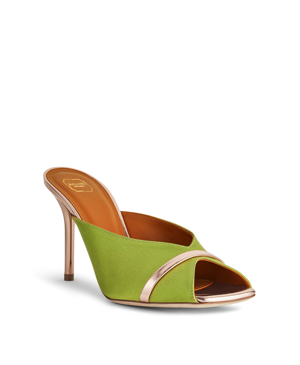 Women's Lime Green Satin Mules With Stiletto Heel Malone Souliers