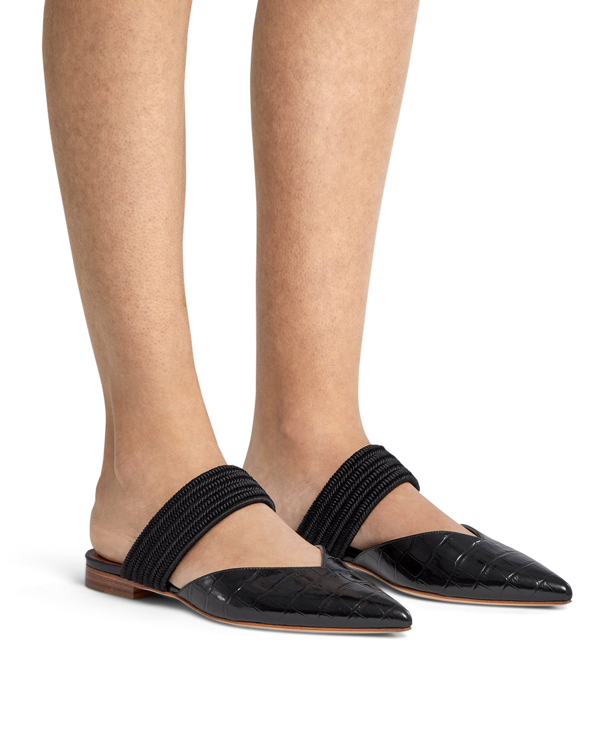 Maisie Flat - Black Croc Printed Leather
