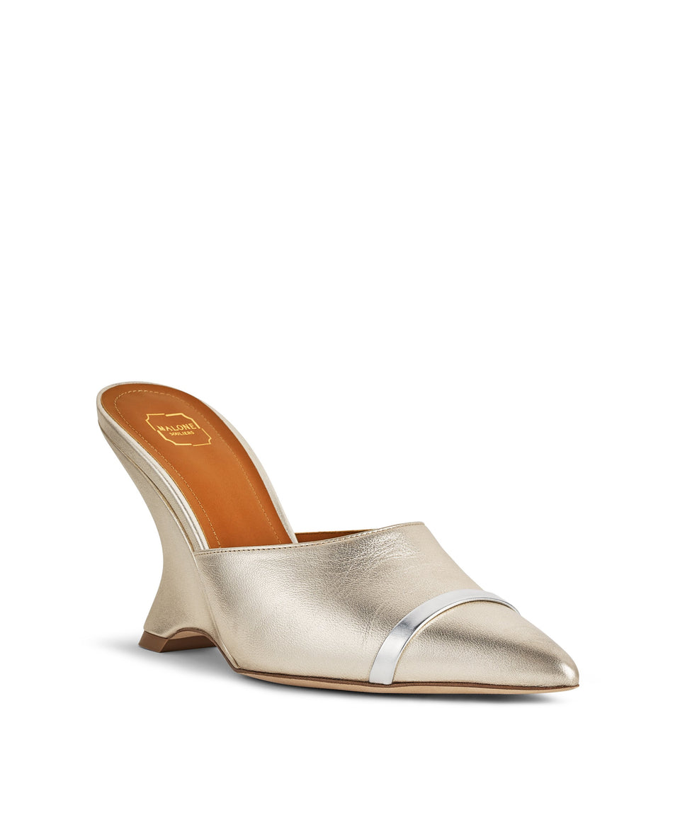 Women's Metallic Wedge Mules With Pointed Toe Malone Souliers Marilyn