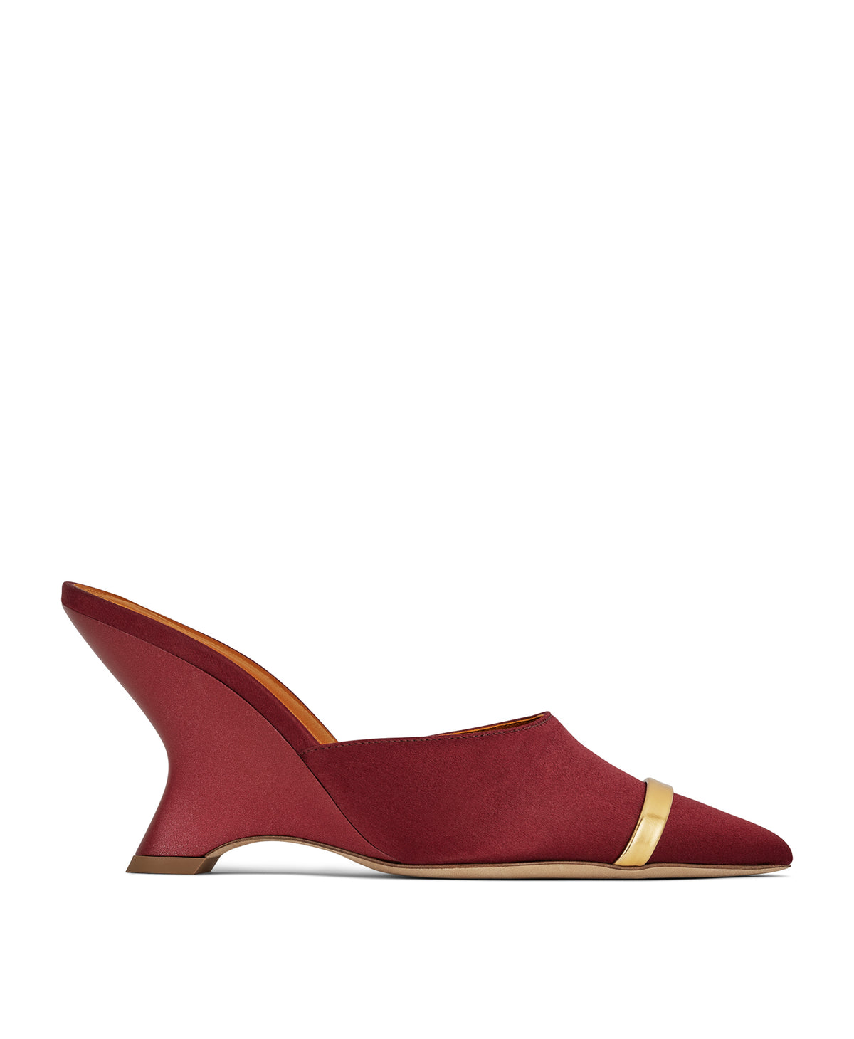 Women's Burgundy Satin Wedge Mules With Pointed Toe Malone Souliers Marilyn