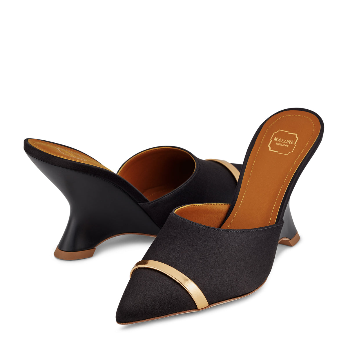 Women's Black Wedge Mules With Pointed Toe Malone Souliers Marilyn