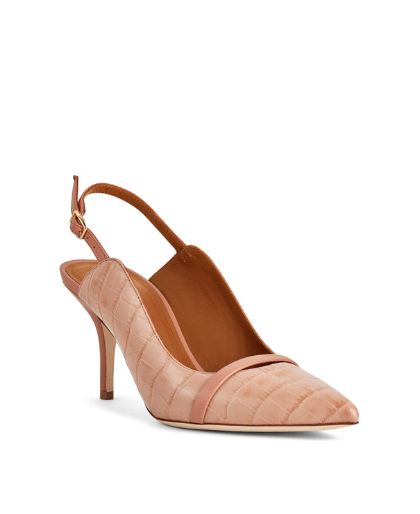 Marion 70mm - Nude Croc Printed Leather