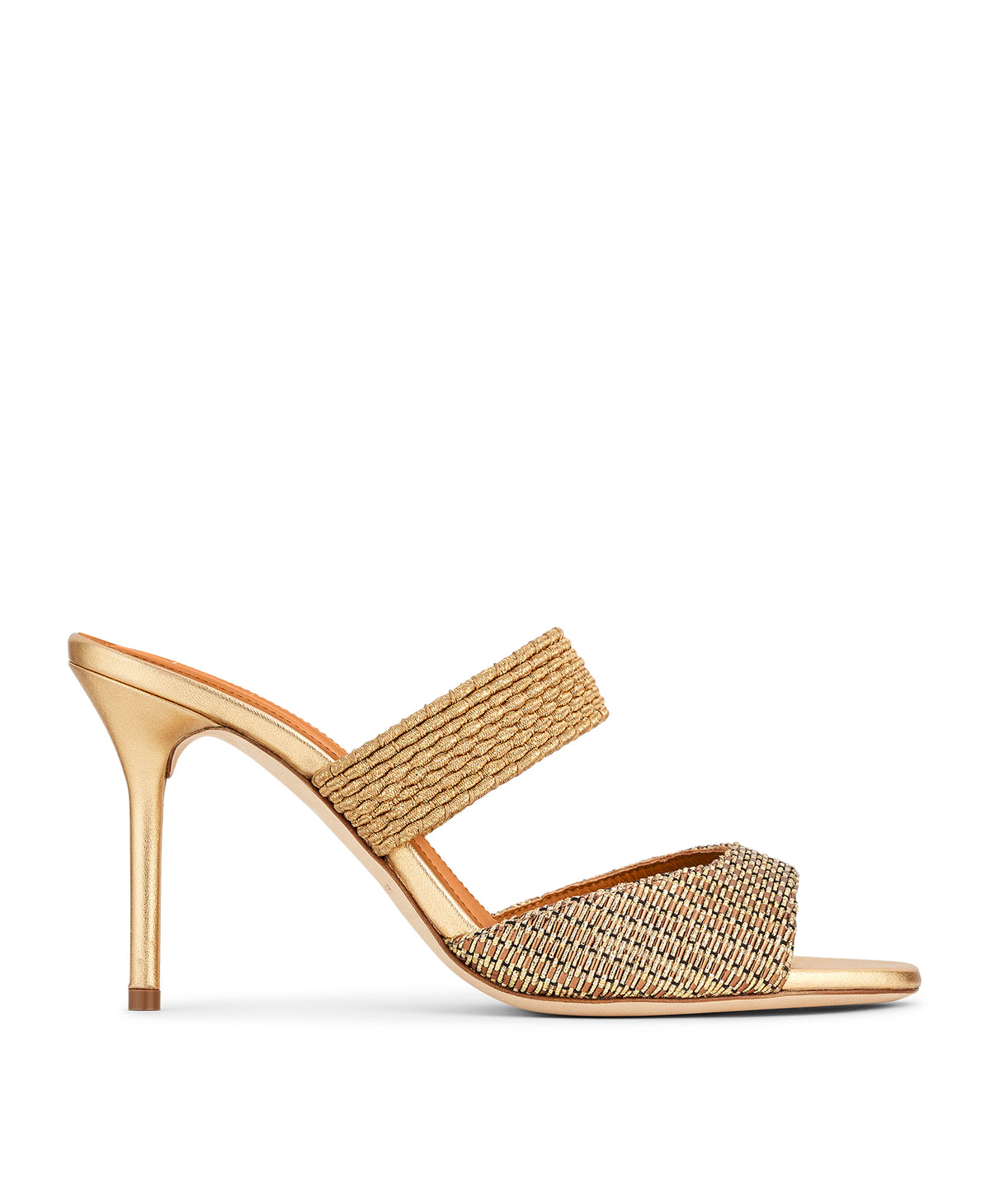 Women's Gold Lurex Open Toe Sandals With Heel Malone Souliers