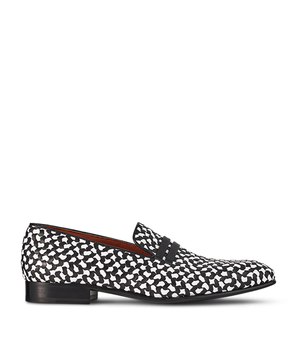 Men's Black and White Woven Leather Loafers Malone Souliers