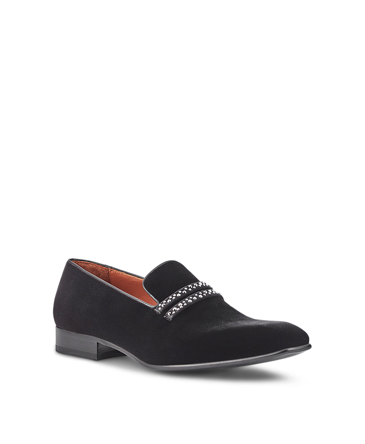 Men's Black Velvet Loafers With Crystal Detail Malone Souliers