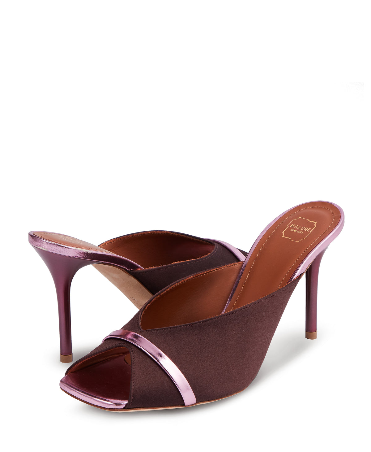 Women's Shoes in Chocolate Brown Satin With Stiletto Heel Malone Souliers