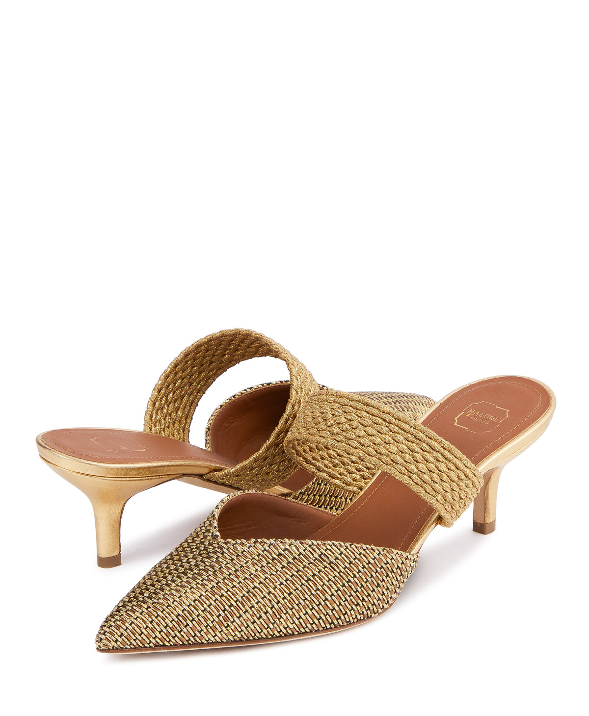 Women's Gold Lurex Slip-On Mules With Kitten Heel Malone Souliers