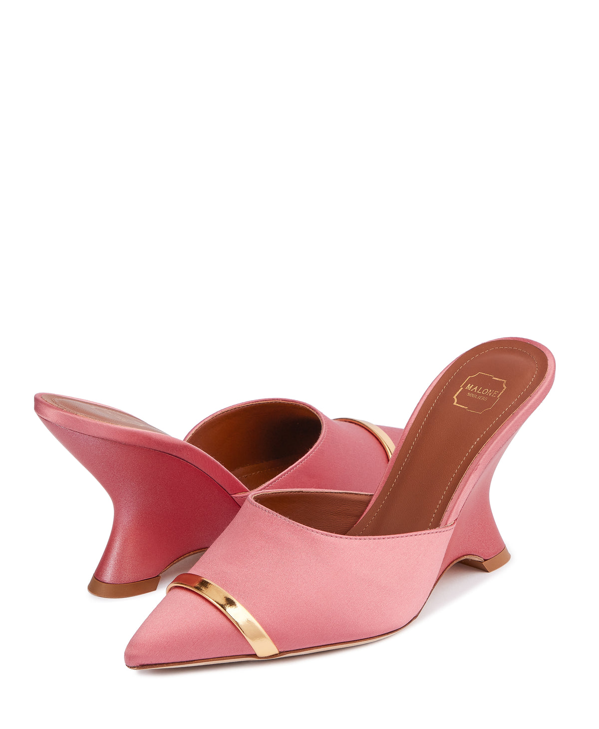 Women's Pink Wedge Mules With Pointed Toe Malone Souliers Marilyn