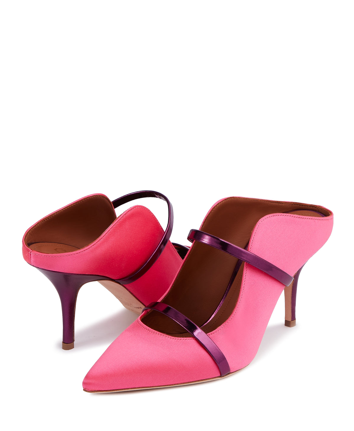Women's Pink Satin Designer Mules With Stiletto Heel Malone Souliers