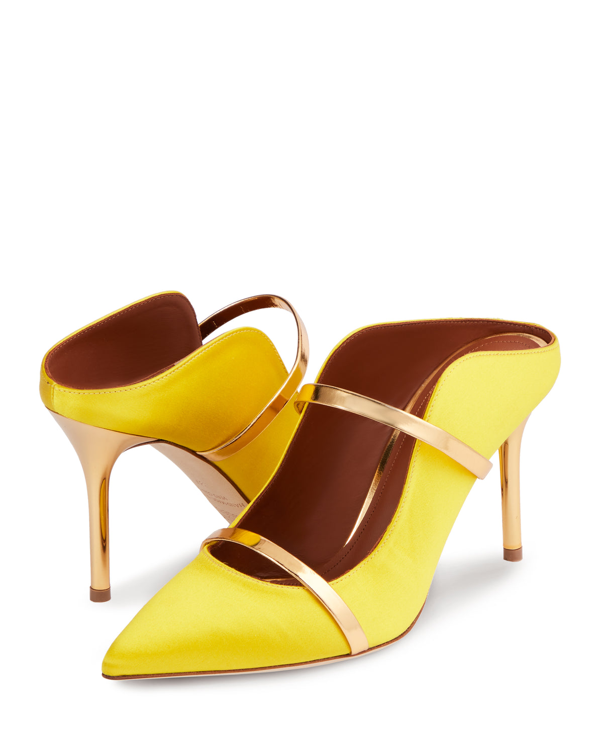 Women's Yellow Satin Designer Mules With Stiletto Heel Malone Souliers