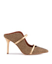 Women's Gold Woven Lurex Designer Mules With Stiletto Heel Malone Souliers