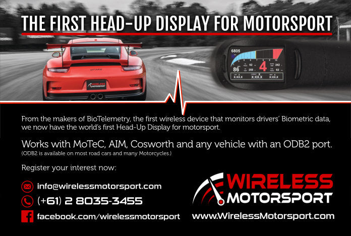 Wireless Motorsport Heads Up Display System