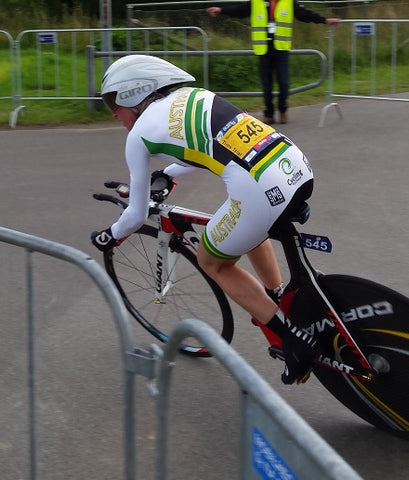 Geraldine Blomfield-Brown at the UCI world amateur cycling championships in Denmark