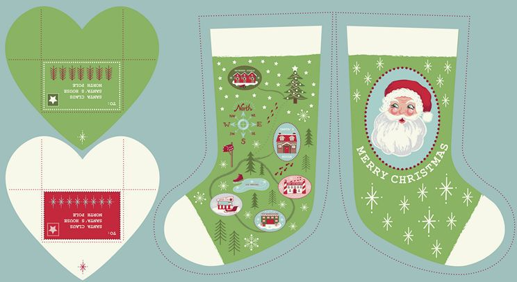 Lewis & Irene Green Christmas Stocking Panel C22.2