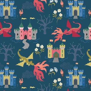 Lewis & Irene A232.3 Dragon Castle on Dark Blue