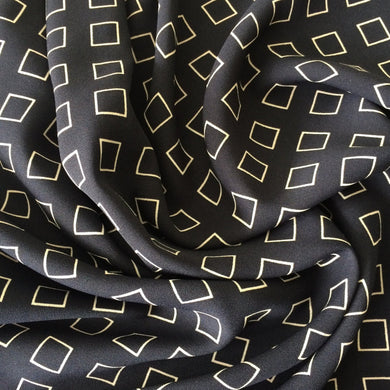 Gorgeous patterned dress fabric- Squares Navy Polyester