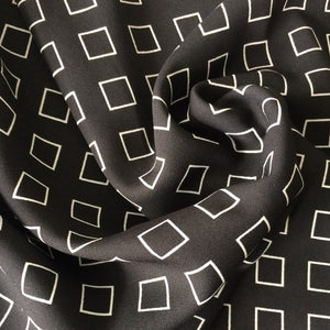 Gorgeous patterned dress fabric- Squares Black Polyester