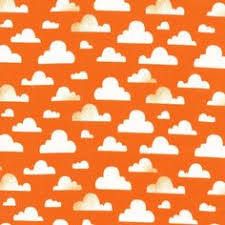 Michael Miller Weather CX 7038 Suns Cloudy- orange/red -Remnant
