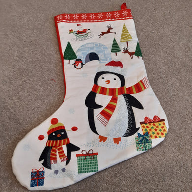 Stocking - Penguin with gold stitching