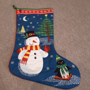 Stocking - Snowman with gold stitching