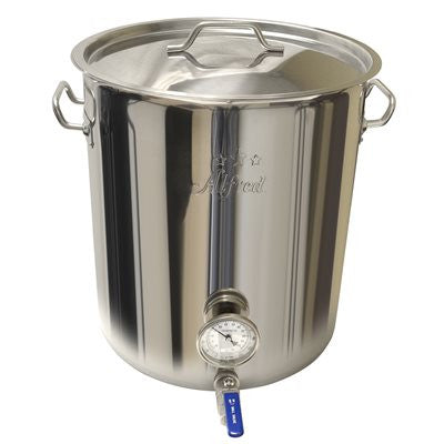 10.5 Gallon 201 Stainless Kettle with Ball Valve and Thermometer (Heavy Duty)