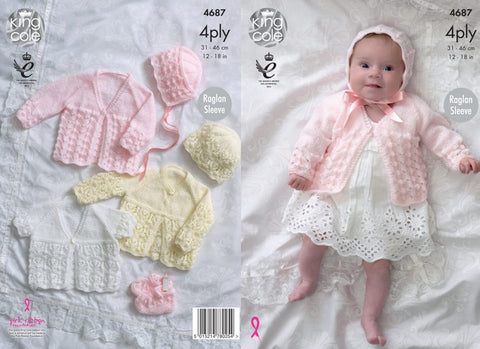 King Cole Baby Matinee Coats, Bonnet, Hat and Bootees 4 Ply Pattern 4687