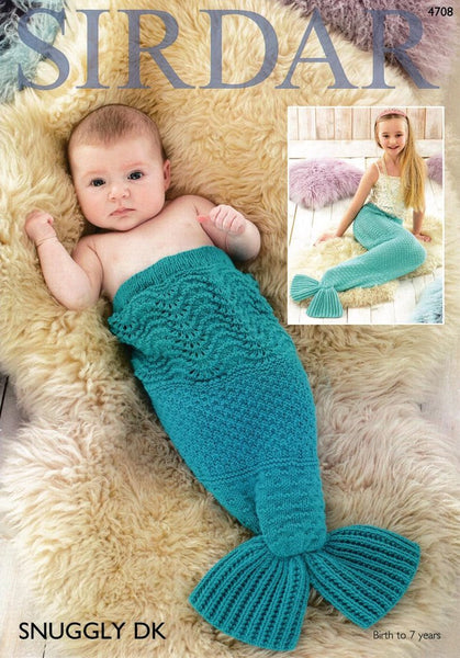 Sirdar Baby & Childrens Mermaid Tail Blanket Snuggly DK Knitting Pattern 4708