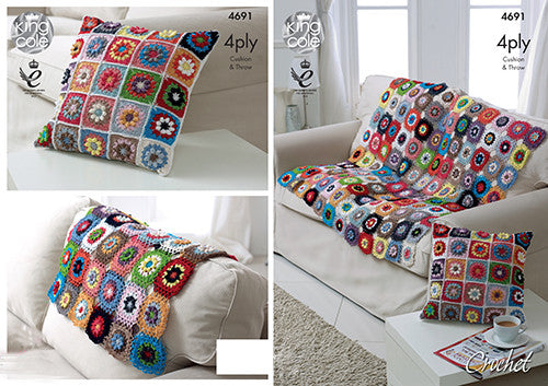 King Cole Flower Trellis Throw & Cushion Giza Crochet Pattern 4691