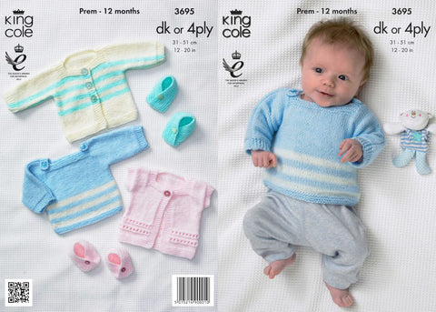 King Cole Baby Jacket, Sweater, Gilet and Moccasins DK Pattern 3695