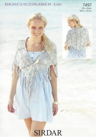 Sirdar Cotton Shawl Beachcomber DK Knitting Pattern 7497