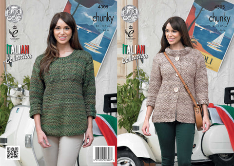 King Cole Ladies Sweater and Jacket Chunky Venice Pattern 4305