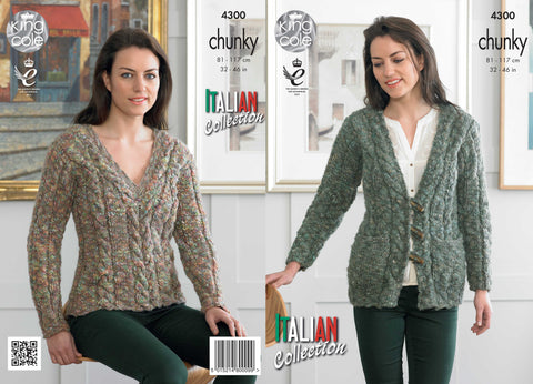 King Cole Ladies Cardigan and Sweater Chunky Verona Pattern 4300